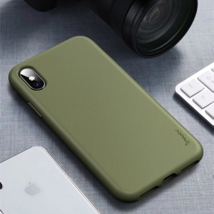 IPAKY Matte Wheat Straw TPU Protection Phone Case for iPhone XS/X 5.8 inch - Army Green