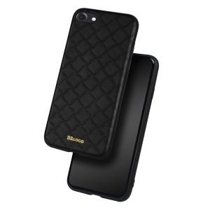 DZGOGO YAGO Series Grid Pattern TPU + PU Leather Phone Case for iPhone 8/7 4.7 inch - Black