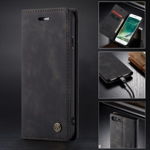 CASEME 013 Series Auto-absorbed PU Leather Wallet Stand Case for iPhone 7 Plus  / 8 Plus 5.5 inch - Black