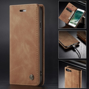 CASEME 013 Series Auto-absorbed PU Leather Wallet Stand Case for iPhone 7 Plus  / 8 Plus 5.5 inch - Khaki