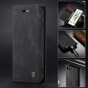 CASEME 013 Series Auto-absorbed PU Leather Wallet Stand Case for iPhone 6s Plus / 6 Plus 5.5-inch - Black
