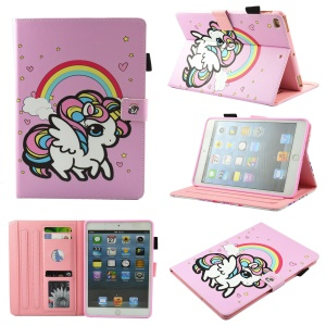Pattern Printing PU Leather Card Holder Tablet Stand Cover for iPad mini (2019) 7.9 inch - Rainbow Unicorn