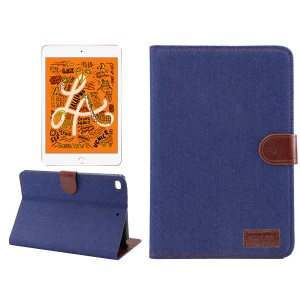 Jeans Cloth Wallet Stand Smart Leather Cover for Apple iPad mini (2019) / mini 4 - Dark Blue