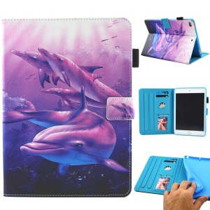 Patterned Leather Stand Smart Flip Case for iPad mini (2019) 7.9 inch / Mini 4 / 3 / 2 / 1 - Dolphin