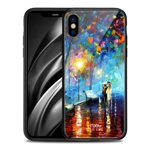 NXE Romantic Road Pattern Printing Glass Back + TPU Phone Case Cover for iPhone X/XS - Y-01
