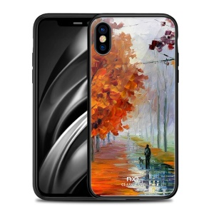 NXE Romantic Road Pattern Printing Glass Back + TPU Phone Cover Case for iPhone XS Max- Y-04