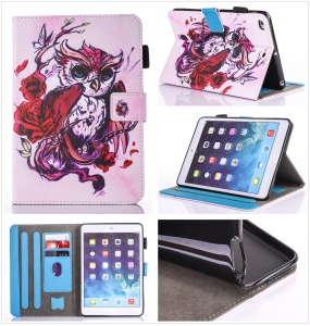 Patterned Tablet PU Leather Wallet Case for Apple iPad mini (2019) 7.9 inch / mini 4 / 3 / 2 / 1 - Red Eagle