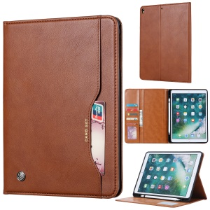 PU Leather Stand Wallet Protective Case with Pen Slot for iPad Air 10.5 inch (2019) - Brown
