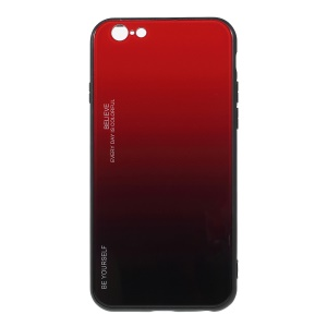 Gradient Color Glass + PC + TPU Hybrid Phone Case for iPhone 6s / 6 4.7 inch - Red / Black