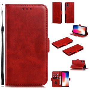 Leather Wallet Stand Flip Phone Case Cover for iPhone XS / iPhone X - Red