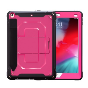 Heavy Duty Anti-drop PC + TPU Hybrid Protective Case with Kickstand for iPad 9.7-inch (2018)/(2017) - Pink