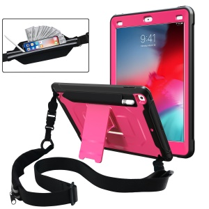Anti-drop PC + TPU Hybrid Protective Case with Kickstand and Shoulder Strap for iPad 9.7-inch (2018)/(2017) - Pink