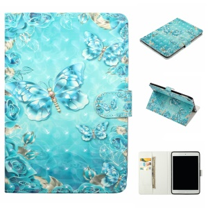 Embossment Patterned  Light Spot Decor Leather Cover for iPad 9.7-inch / Pro 9.7 inch (2016) / Air (2013) / Air 2 - Blue Butterfly