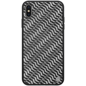 NILLKIN Dazzling PU Leather + PC + TPU Phone Case Cover for iPhone X / XS 5.8 inch - Silver / Black