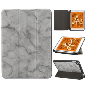 Marble Pattern Tri-fold Stand Smart Leather Cover Shell with Pen Slot for iPad mini (2019) 7.9 inch/mini 4 - Black