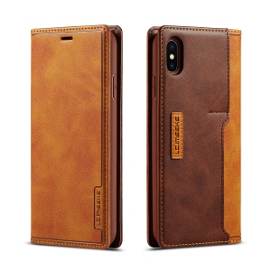 LC.IMEEKE LC-001 Leather Card Holder Case for iPhone XS Max 6.5 inch - Brown