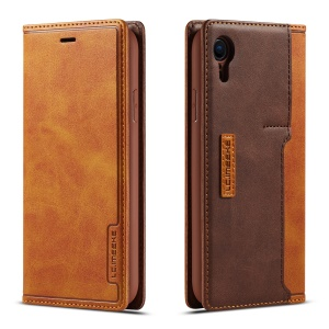 LC.IMEEKE LC-001 Leather Card Holder Case for iPhone XR - Brown