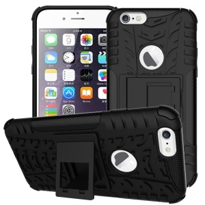 Tyre Pattern PC + TPU Kickstand Case for iPhone 6s 6 - Black