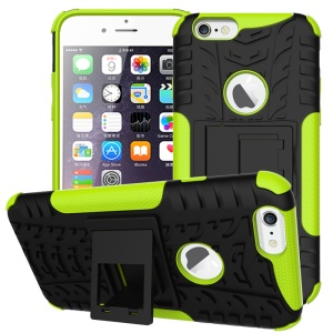 Tyre Pattern PC + TPU Kickstand Case for iPhone 6s 6 - Green