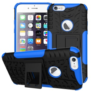 Tyre Pattern PC + TPU Hybrid Kickstand Case for iPhone 6s 6 - Blue