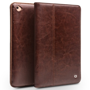 QIALINO Genuine Leather Smart Case with Stand and Hand Strap for iPad mini (2019)/mini 4/3/2/1 - Brown