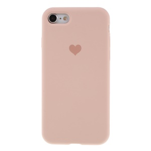 Heart Pattern Solid Silicone Mobile Phone Case for iPhone 7/8 - Light Pink