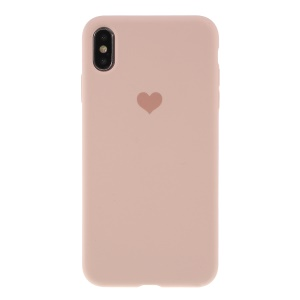 Heart Pattern Solid Silicone Mobile Phone Cover for iPhone XS Max 6.5 inch - Light Pink