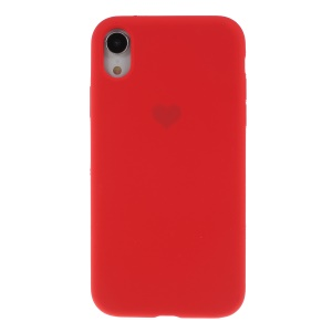 Heart Pattern Solid Silicone Mobile Phone Case for iPhone XR 6.1 inch - Red