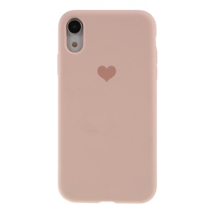 Heart Pattern Solid Silicone Mobile Phone Case for iPhone XR 6.1 inch - Light Pink