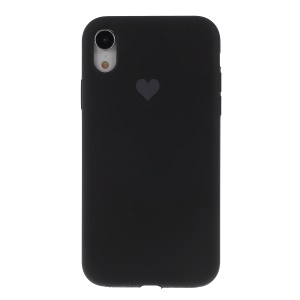 Heart Pattern Solid Silicone Mobile Phone Case for iPhone XR 6.1 inch - Black