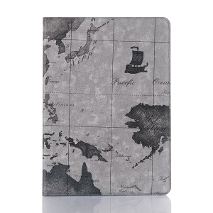 Intelligent Map Pattern Wallet Stand Leather Shell for iPad Air 10.5 inch (2019) - Grey