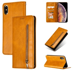 Auto-absorbed Zipper Wallet Leather Phone Casing for iPhone X/XS 5.8 inch - Yellow