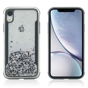 PC Back + TPU Frame Shiny Glittery Phone Case for iPhone XR 6.1 inch - Black