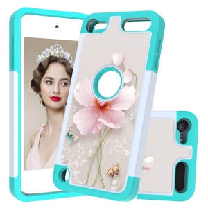 Pattern Printing TPU+PC+PU Leather Coated Phone Case for Apple iPod Touch (2019) / Touch 6 / 5 - Cyan / Flower