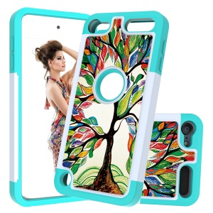 Pattern Printing TPU+PC+PU Leather Coated Phone Case for Apple iPod Touch (2019) / Touch 6 / 5 - Cyan / Colorful Trees