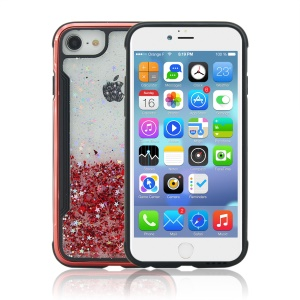 Sand-like Texture PC Back + TPU Frame Shiny Glittery Phone Case for iPhone 8/7/6 - Red