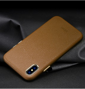 X-LEVEL Litchi Skin PU Leather Coated Hard Phone Casing for iPhone XS Max 6.5 inch - Brown