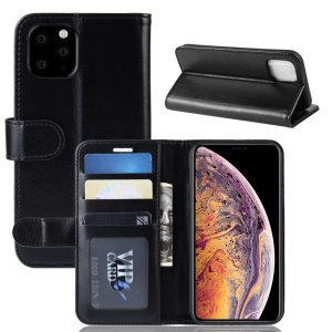 Crazy Horse PU Leather Stand Wallet Flip Phone Case for iPhone 11 Pro Max 6.5 inch (2019) - Black