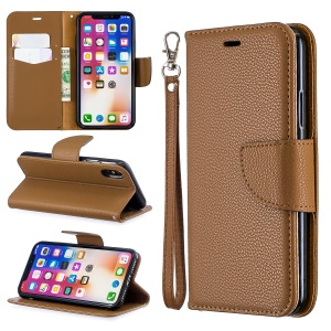 For iPhone X/XS 5.8 inch Litchi Texture Wallet Stand Leather Protective Phone Case with Strap - Brown