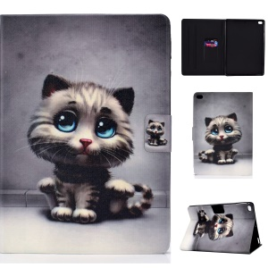 Anti-dropping Pattern Printing PU Leather Stand Tablet Casing for iPad 9.7-inch (2018) - Cat with Blue Eyes