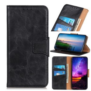 Crazy Horse Texture Magnetic Stand Wallet PU Leather Protective Case for iPhone (2019) 6.5-inch - Black