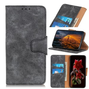 Vintage Style PU Leather Wallet Phone Case for iPhone (2019) 6.1-inch - Grey