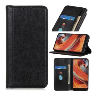 Auto-absorbed Litchi Texture Split Leather Wallet Case for iPhone (2019) 6.1-inch - Black