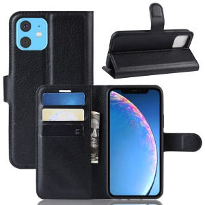 Litchi Skin Leather Wallet Stand Case for iPhone 11 6.1 inch (2019) - Black