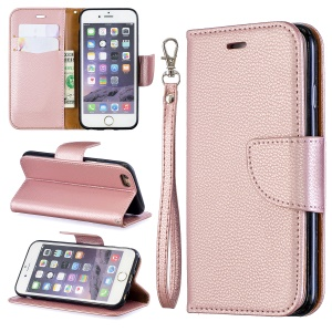 Litchi Texture Leather Wallet Stand Case for iPhone 6/6S - Rose Gold