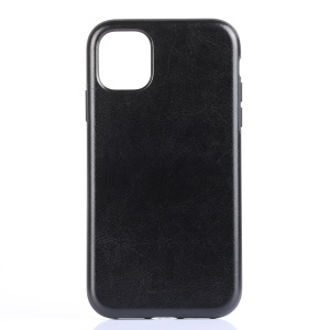 PU Leather Coated Flexible TPU Phone Case Cover for iPhone 11 Pro Max 6.5 inch (2019) - Black Crazy Horse Texture