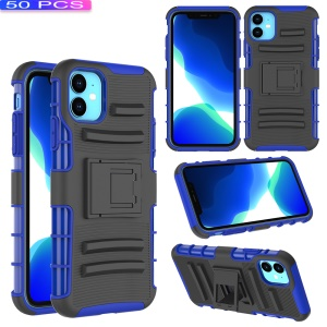 [50pcs] 3-in-1 Armor Shock-proof Waist Belt Clip TPU PC Hybrid Shell for iPhone (2019) 6.1-inch - Black / Blue