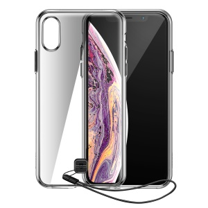 BASEUS TPU + PC Back Phone Case with Hanging Rope for iPhone XS Max - Transparent Black