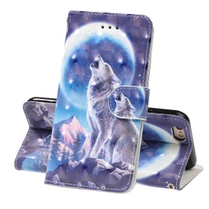 Light Spot Decor Patterned Leather Wallet Cell Phone Case for iPhone 6 / 6s - Wolf and Moonlight