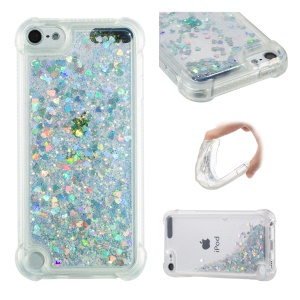 Dynamic Glitter Powder Heart Shaped Sequins TPU Shockproof Case for iPod Touch (2019) / Touch 6 / Touch 5 - Silver